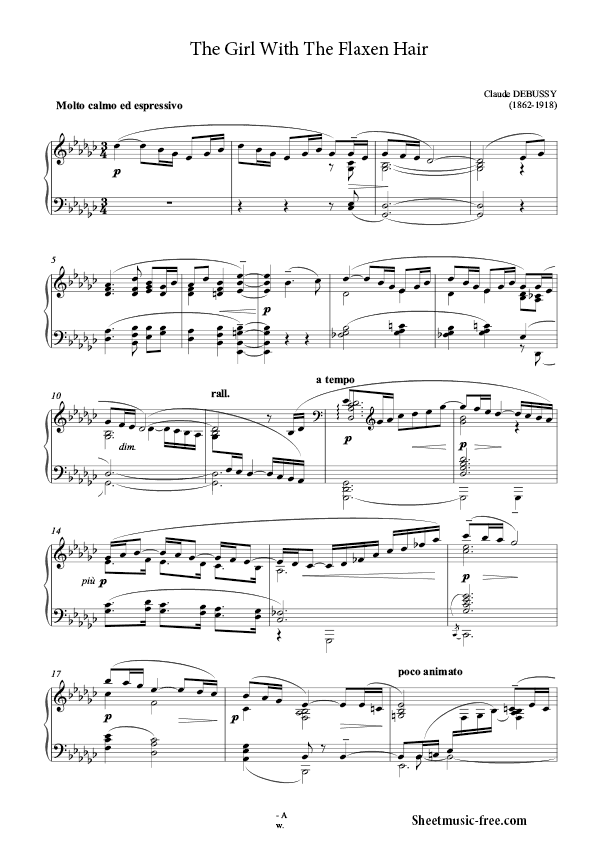 The girl with the flaxen hair piano sheet music pdf